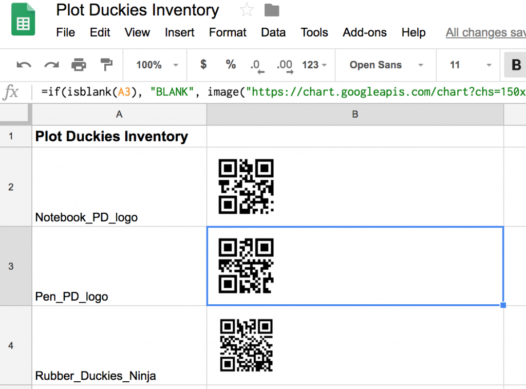 Create QR codes in Google Sheets